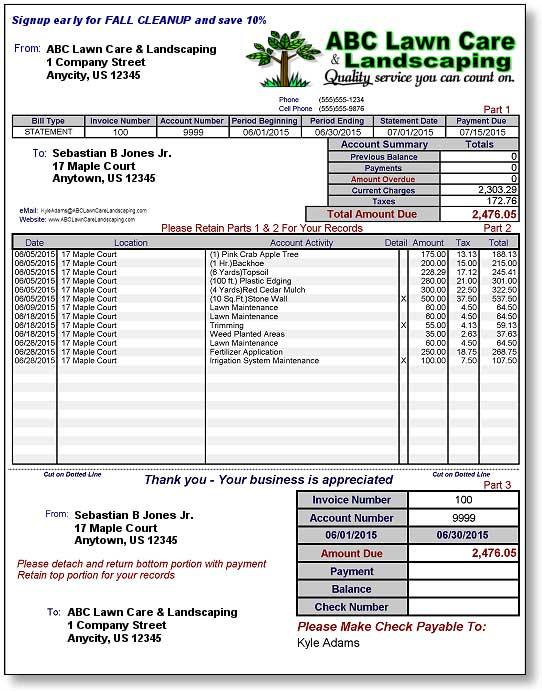 Invoices for Lawn and Landscaping Business