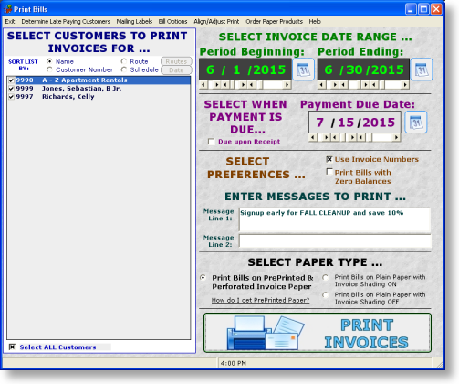 Lawncare Landscape Software Billing Screen