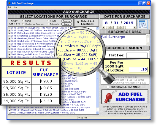 Lawn Pro Software Fuel Charge Fee