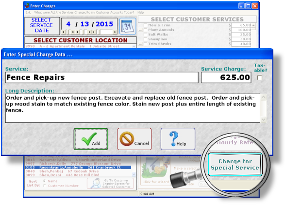 Lawn Software Special Service Rate