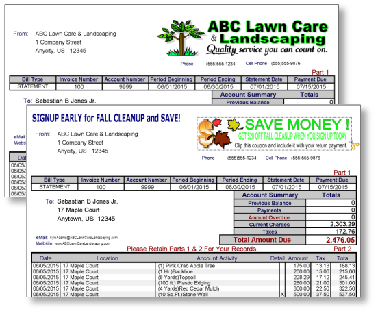 GroundsKeeper Pro Software Invoice Forms