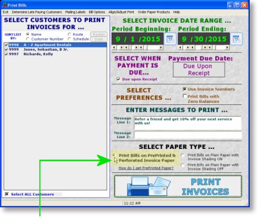 GroundsKeeper Pro Software PrePrinted Invoice Paper