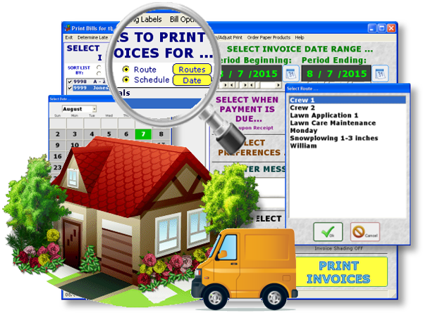 Landscaping Computer Software Route Schedule Invoice