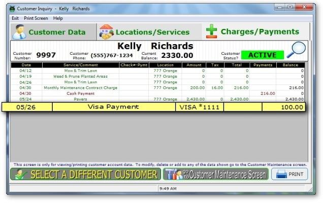 Pay Lawn Care Service Visa Mastercard Software