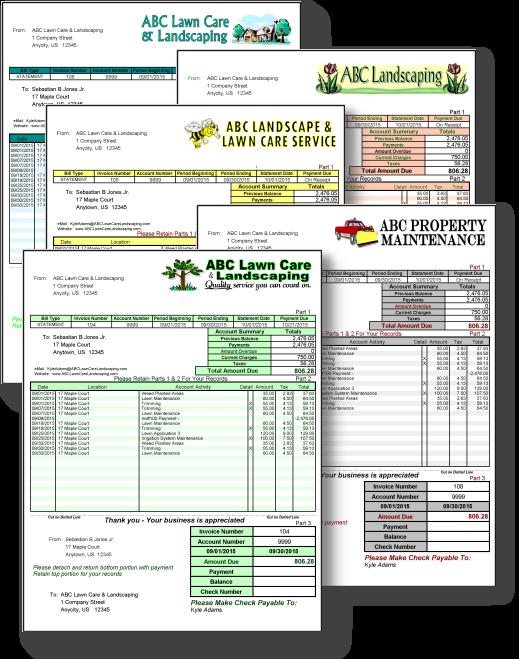GroundsKeeper Pro Billing Software - Landscape Invoices