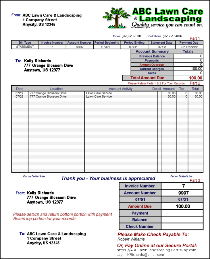 Lawn Billing Software Invoice | GroundsKeeper Pro